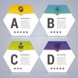 Infographic projekta szablon Biznesowy pojęcie z 4 opcjami, części również zwrócić corel ilustracji wektora Fotografia Stock