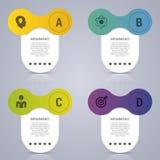 Infographic projekta szablon Biznesowy pojęcie z 4 opcjami, części również zwrócić corel ilustracji wektora Obrazy Royalty Free