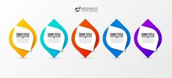 Infographic projekta szablon Biznesowy pojęcie z 5 krokami Zdjęcie Royalty Free