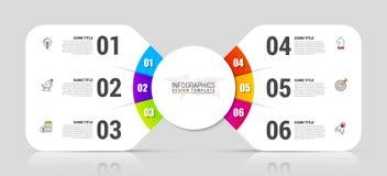 Infographic projekta szablon Kreatywnie pojęcie z 6 krokami ilustracja wektor