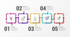 Infographic projekta szablon Kreatywnie pojęcie z 5 krokami royalty ilustracja