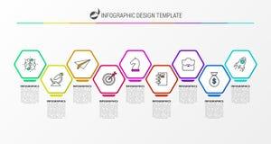 Infographic projekta szablon Kreatywnie pojęcie z 9 krokami royalty ilustracja