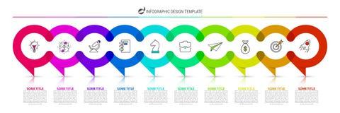 Infographic projekta szablon Kreatywnie pojęcie z 10 krokami Ilustracja Wektor