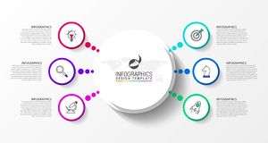 Infographic projekta szablon Kreatywnie pojęcie z 6 krokami ilustracji