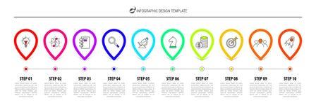 Infographic projekta szablon Linii czasu pojęcie z 10 krokami ilustracji
