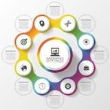 Infographic projekta szablon pojęcia prowadzenia domu posiadanie klucza złoty sięgający niebo Kolorowy okrąg z ikonami również zw Zdjęcie Royalty Free