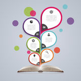 Infographic projekta szablon z książką Abstrakcjonistyczny drzewo również zwrócić corel ilustracji wektora ilustracja wektor