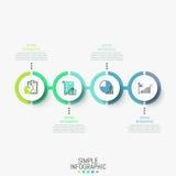 Infographic projekta układ Horyzontalny diagram z 4 round elementami successively łączył linią, ikonami i tekstów pudełkami, royalty ilustracja