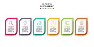 Infographic projekta wektor i marketingowe ikony dla diagrama, wykresu, prezentacji i round, sporz?dzamy map? Poj?cie z 6 opcjami ilustracji