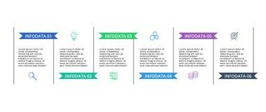 Infographic projekta wektor i marketingowe ikony dla diagrama, wykresu, prezentacji i round, sporz?dzamy map? Poj?cie z 6 opcjami ilustracja wektor