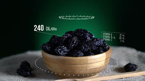 Infographic of Prune with vitamins, microelements minerals. Energy, calorie and component stock footage