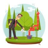 Infographic przyrost Kultywuje sukcesu biznesmena podlewania rośliny projekta wektoru Płaską ilustrację ilustracja wektor