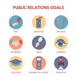 Infographic on public relations goals and objectives. Royalty Free Stock Image