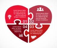 Infographic pussel för vektorhjärtacirkel Mall för förälskelsecirkuleringsdiagrammet, graf, presentation, runt diagram Affär Royaltyfria Bilder