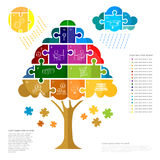 infographic with puzzle tree Royalty Free Stock Image