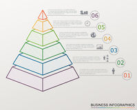 Infographic pyramid with numbers and business icons, line style. Royalty Free Stock Images