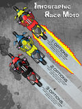 Infographic race moto cartoon style for web and other. Infographic race moto cartoon style for web Stock Images