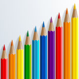 Infographic rainbow color pencils with realistic Stock Image