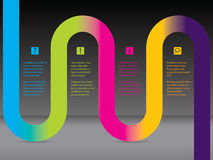Infographic with rainbow ribbon. Infographic design with rainbow wave shaped ribbon Royalty Free Stock Photo