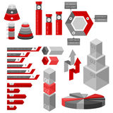 Infographic. Red and gray infographic elements on white background. Graph, bars with template text Royalty Free Stock Image
