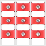 Infographic of red ribbons with a rivet. Vector. EPS10 Stock Photos