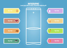 Infographic with refrigerator end foodstuff. With text place Royalty Free Stock Photos