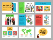 Infographic reklamblad, glidbanor, baner och rengöringsdukdesign Fotografering för Bildbyråer