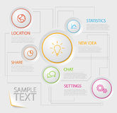 Infographic report poster with circle buttons Stock Photo