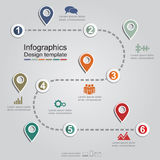 Infographic report template with arrows and icons Royalty Free Stock Images
