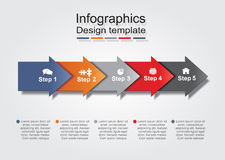 Infographic report template with arrows and icons. Vector illustration stock illustration