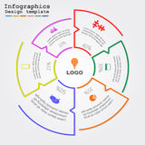Infographic report template with lines and icons Royalty Free Stock Image