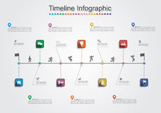 Infographic report template with lines and icons Royalty Free Stock Photos
