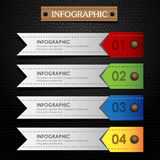 Infographic ribbon colorful leather black background Stock Image