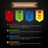 Infographic ribbon colorful and leather black background Stock Photo