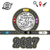 Infographic. Road with a marking. Cars. Greeting inscription Happy New Year 2017. illustration. Infographic. Road with a marking. Cars. Greeting inscription vector illustration