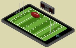 Infographic rugby boisko, piłka i pastylka, Isometric rugby wizerunek odosobniony Obrazy Stock