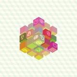 Infographic samling för isometrisk projektion av kuber Arkivfoton