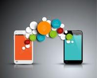 Infographic Schablone der abstrakten Kreise des Vektors mit Telefonen Stockfoto