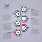 Infographic Schablone der abstrakten Zeitachse Die goldene Taste oder Erreichen für den Himmel zum Eigenheimbesitze Auch im corel Stockbild