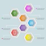 infographic Schablone der Form des Hexagons 3D Lizenzfreie Stockfotos