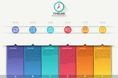 Infographic Schablone der Geschäftszeitachse stockbild
