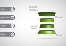 infographic Schablone der Illustration 3D mit dem verformten Zylinder horizontal geteilt zu vier grünen Scheiben lizenzfreie abbildung