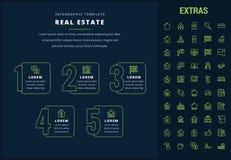 Infographic Schablone der Immobilien, Elemente, Ikonen Stockbilder
