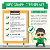Infographic Schablone der Karikatur des Geschäftsmannes und Kontrolle verschalen Lizenzfreies Stockbild
