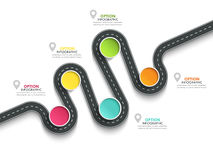 Infographic Schablone der kurvenreichen Straße mit einer phasenweisen Struktur Stockfoto