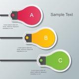 Infographic Schablone der Papierbirne Stockfoto