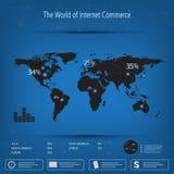 Infographic Schablone der Weltkarte auf blauem Hintergrund Kann für Arbeitsflussplan, Darstellungswebdesign verwendet werden Lizenzfreie Stockbilder