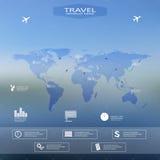Infographic Schablone der Weltkarte mit unscharfem Hintergrund Kann für Arbeitsflussplan, Darstellungswebdesign verwendet werden Stockfotos