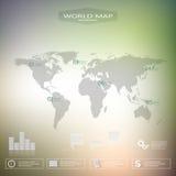 Infographic Schablone der Weltkarte mit unscharfem Hintergrund Kann für Arbeitsflussplan, Darstellungswebdesign verwendet werden Stockfoto