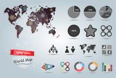 Infographic Schablone der Weltkarte Set Elemente Stockfotografie